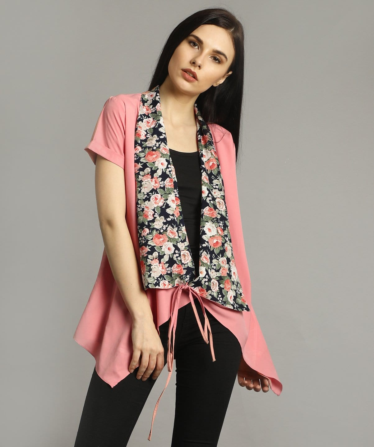 Pink Solid & Floral Tie Up Shrug