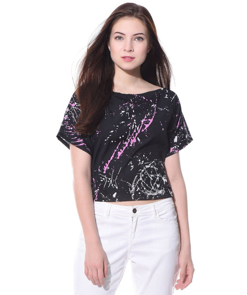 Uptownie Printed Black Casual Boxy Crepe Top 1 summer sale