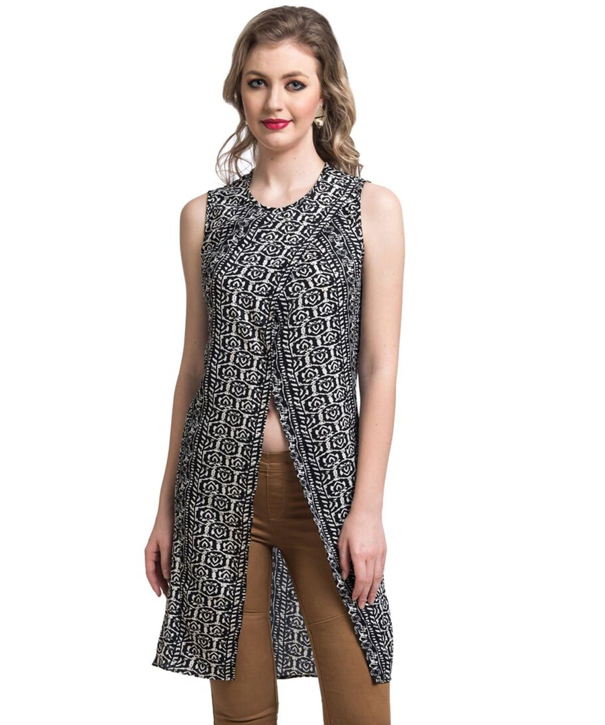 Printed Black Front Slit Crepe Tunic - Uptownie