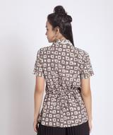 Printed Brown Linen Wrap Shrug. EXTRA 18% OFF
