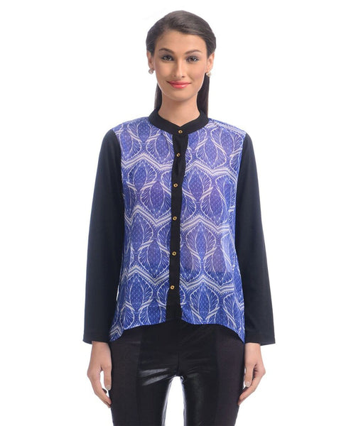 Uptownie Printed Purple Georgette Button Down Shirt 1 Sale at 399