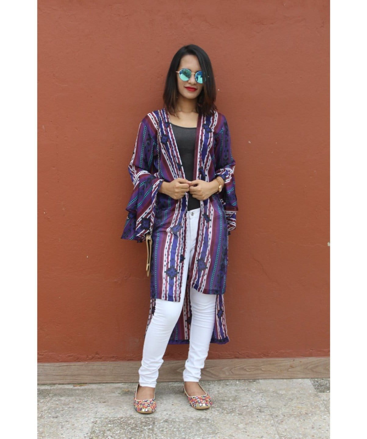 Printed Purple Long Shrug