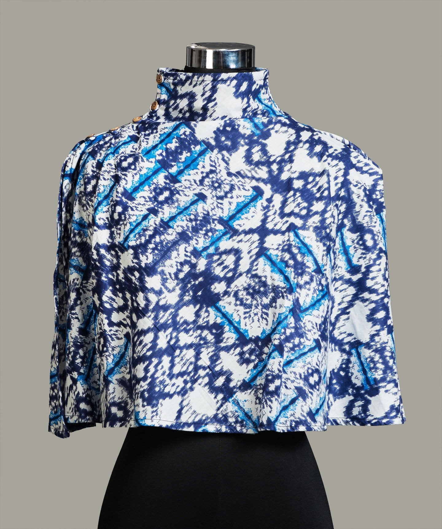 Printed Puzzle Blue Cape Top