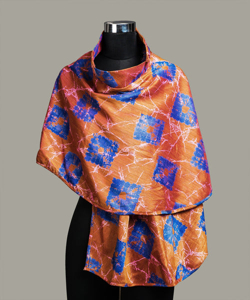Printed Orange Tie Up Cape
