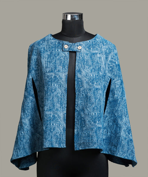 Printed Blue Denim Cape