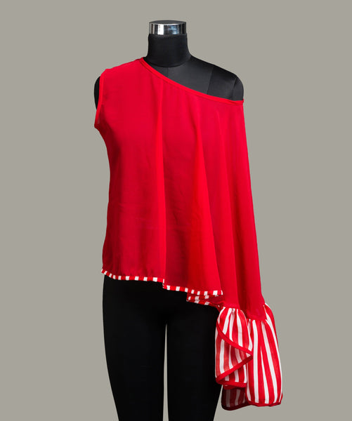 Solid Red Ruffle Cape Top