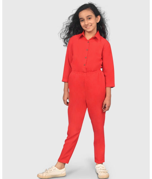 Solid Roll Up Girls Jumpsuit