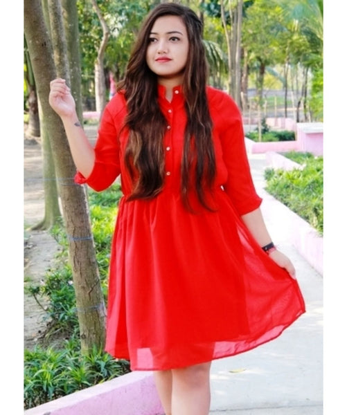 Solid Red Shirt Dress