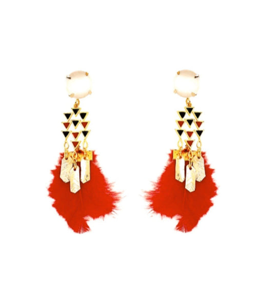 Red Feather Earrings - Uptownie