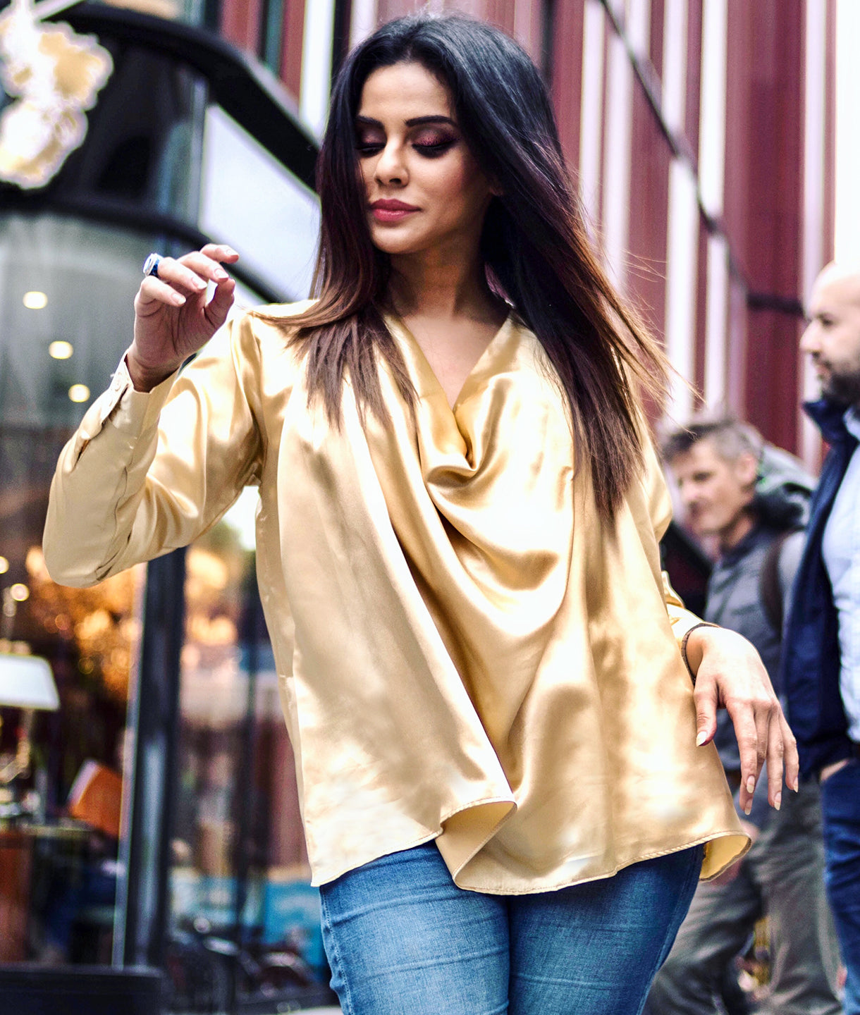 0072dac618bc5d Uptownie Plus Solid Gold Satin Top