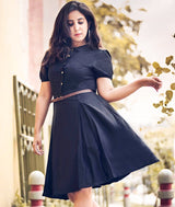 Solid Black Peterpan Collar Skater Dress - Uptownie