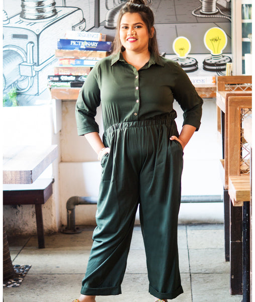 Uptownie Plus Olive Green Roll Up Jumpsuit - Uptownie