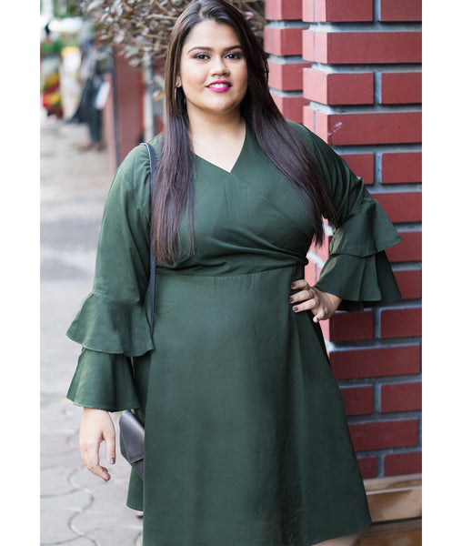 Uptownie Plus Green Wrap Neck Bell Sleeves Skater Dress - Uptownie