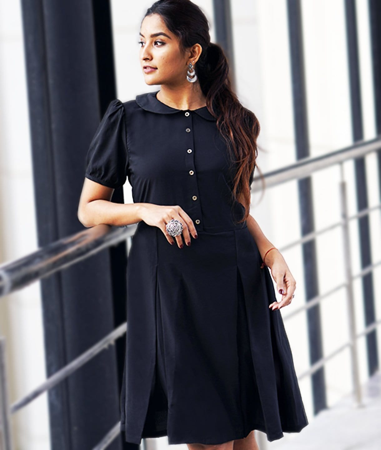 Solid Black Peterpan Collar Skater Dress