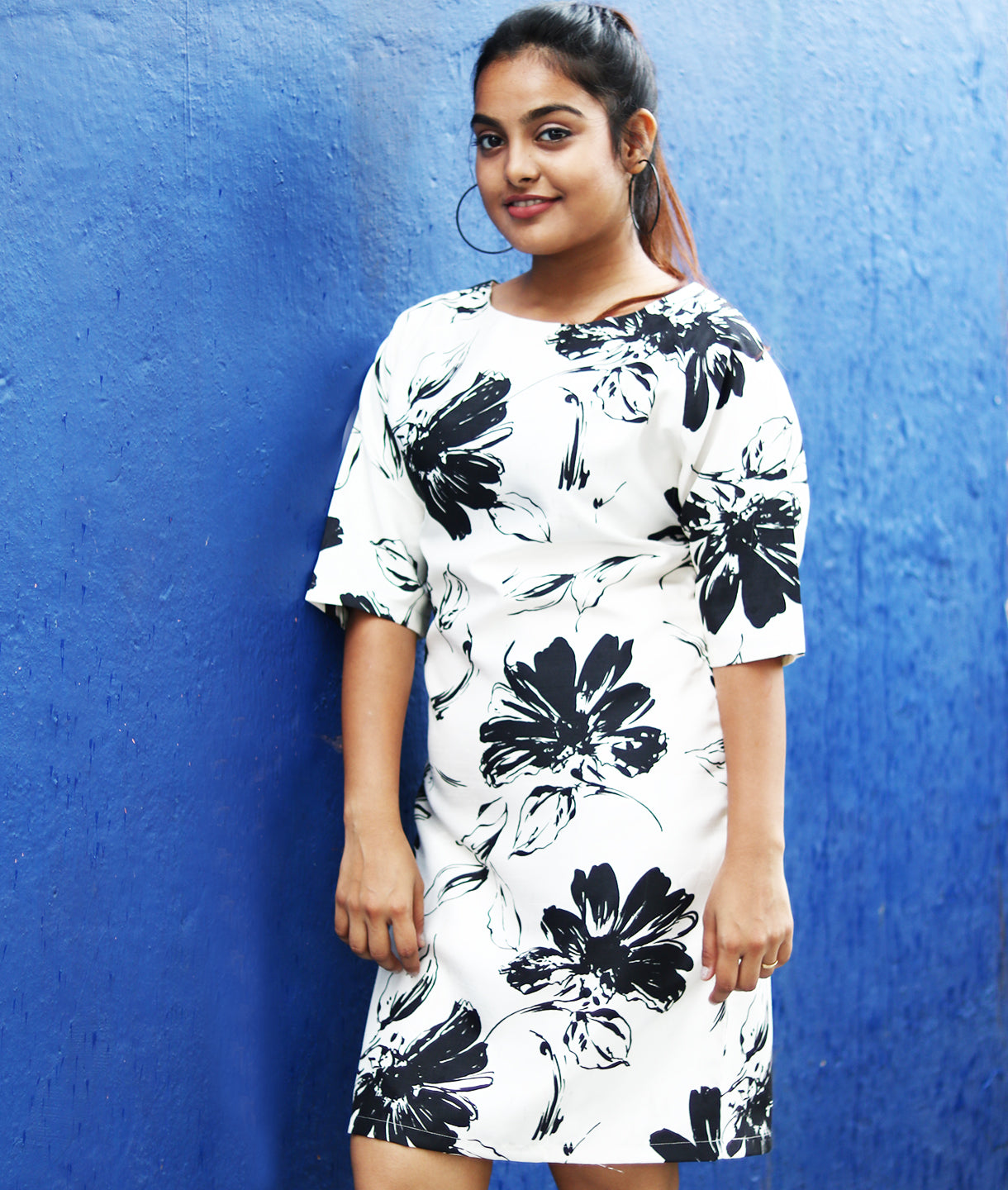 Uptownie X Pearl-Black & White Floral Printed Satin Dress - Uptownie