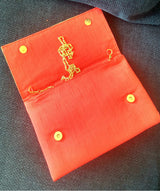 Uptownie X Creative Box-Rise In Red Handpainted Classic Clutch - Uptownie