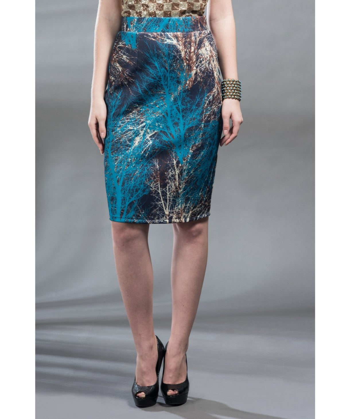 Printed Blue Pencil Skirt