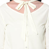 Solid White Neck Tie Up Crepe Top. BUY 1 GET 3