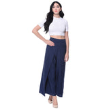 Uptownie Plus Navy Blue Solid Palazzo 4 summer sale
