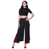 Uptownie Colorblocked Black & Maroon Layered Palazzos 4 clearance sale