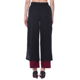 Colorblocked Black & Maroon Palazzos