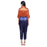 Satin Orange and Blue Buttoned Jumpsuit