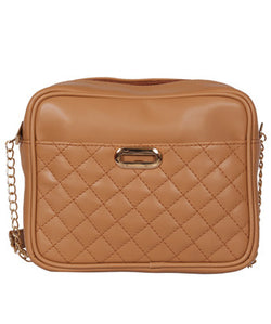 Beige Quilted Across Body Bag