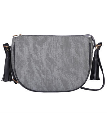 Uptownie X August Line Ash Grey Tassel Cross Body Bag - Uptownie