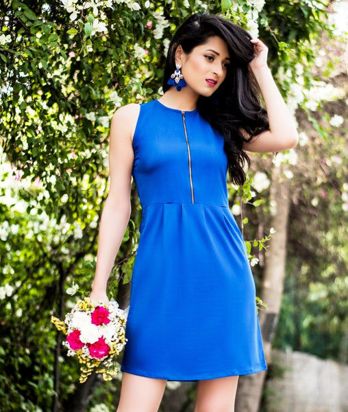 Solid Blue Cotton Front Zipper Dress