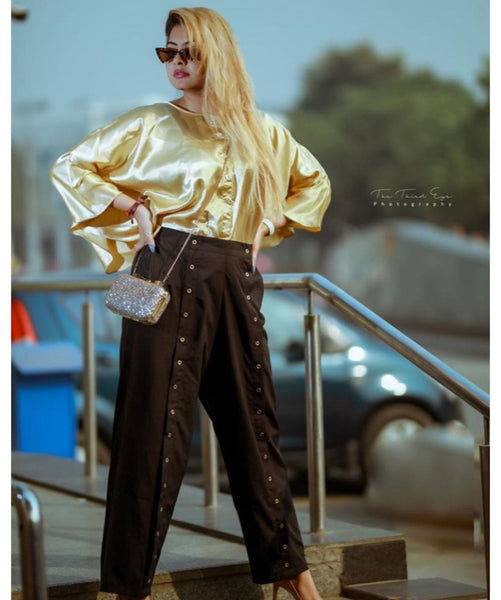 Solid Gold Satin Cape Top