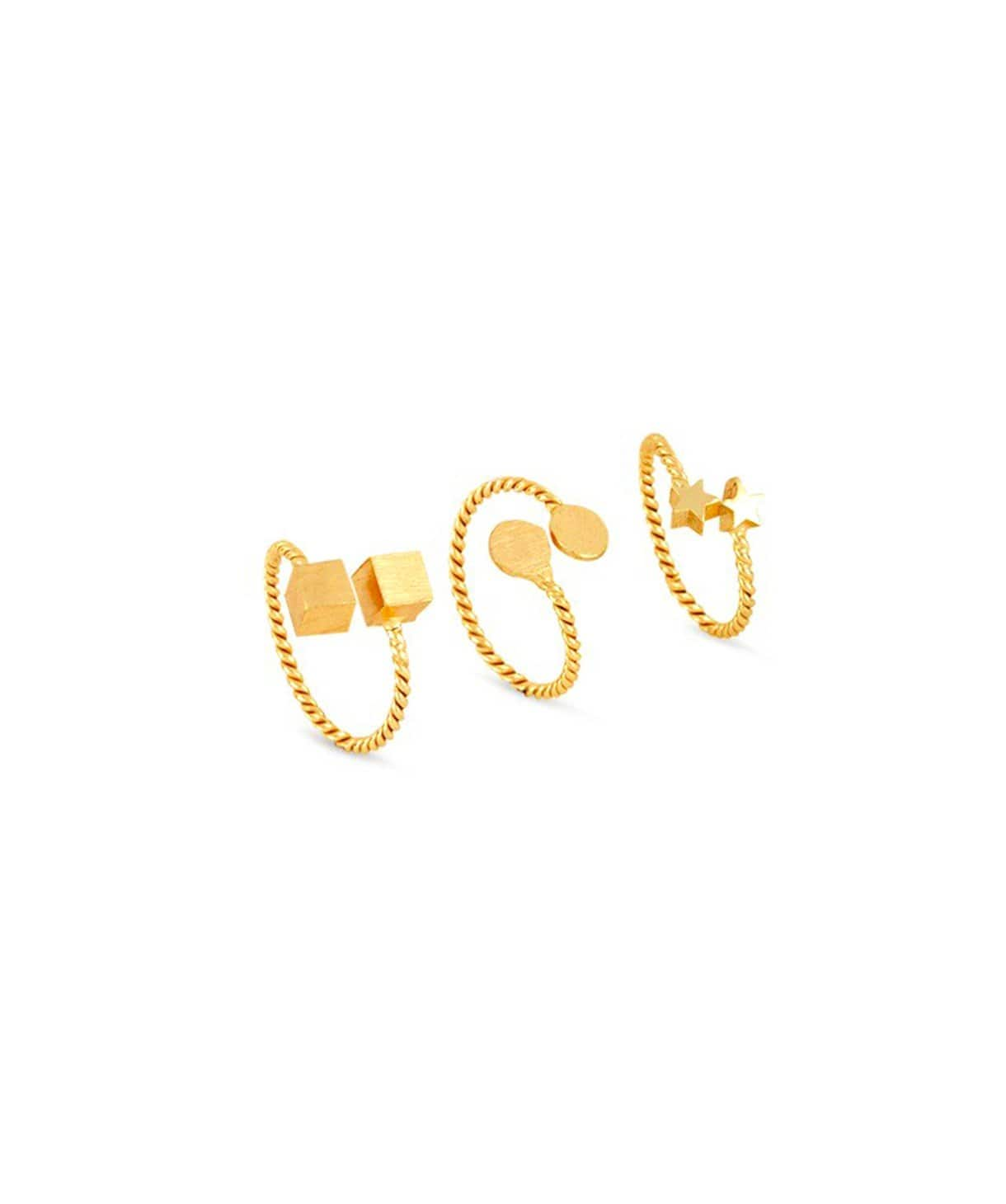 Shaped Gold Ring Set - Uptownie