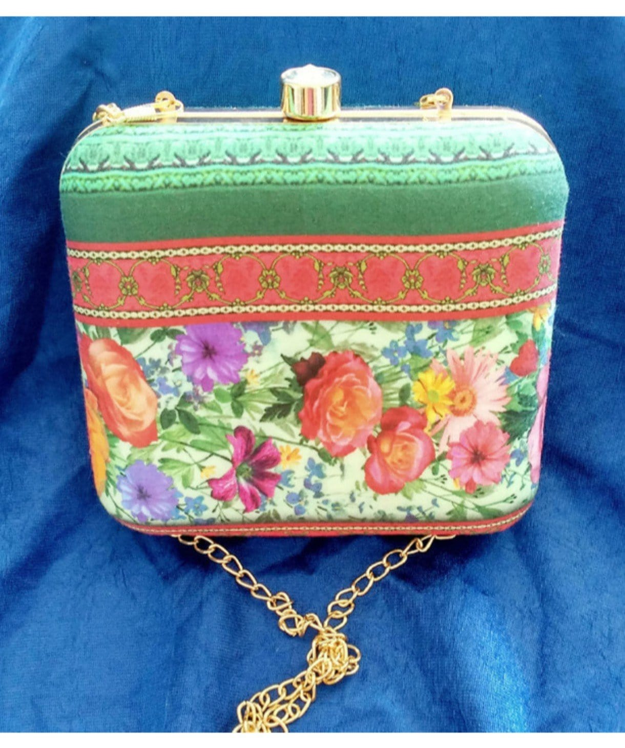 Silk Route Floral Box Clutch - Uptownie