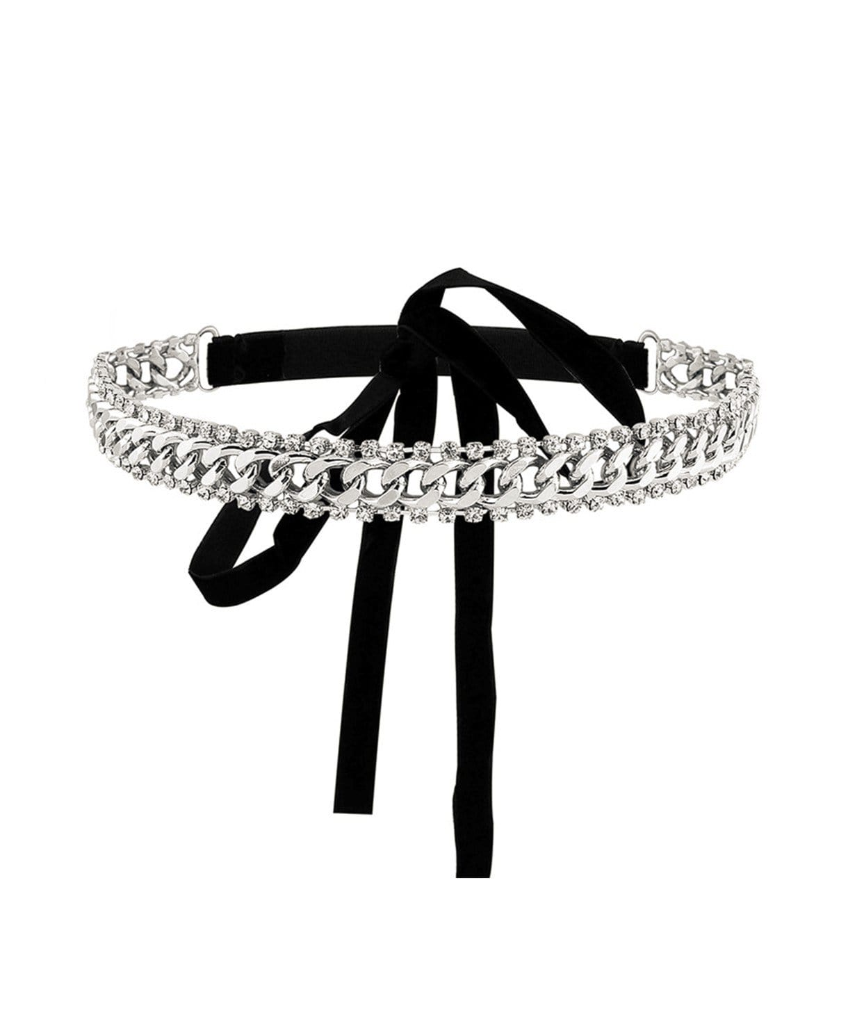 Silver Chain Tie Up Choker - Uptownie