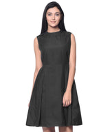 Solid Black Box Pleated Skater Dress