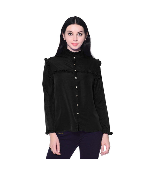 Solid Black Button Down Crepe Shirt. BUY 1 GET 3
