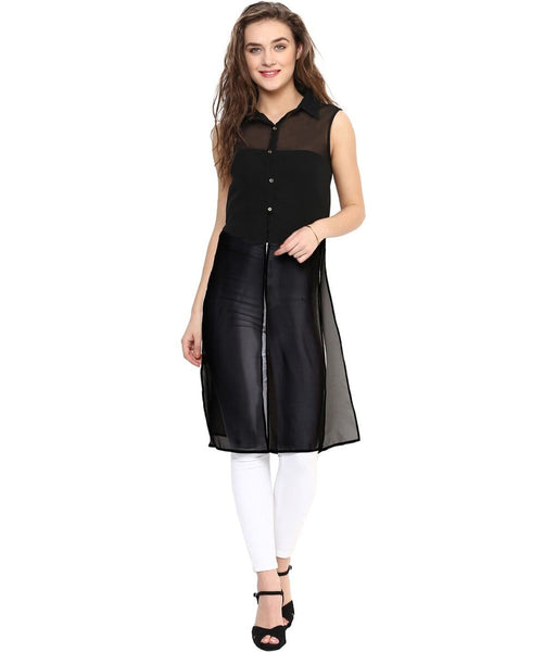 Solid Black Buttoned Slit Georgette Tunic