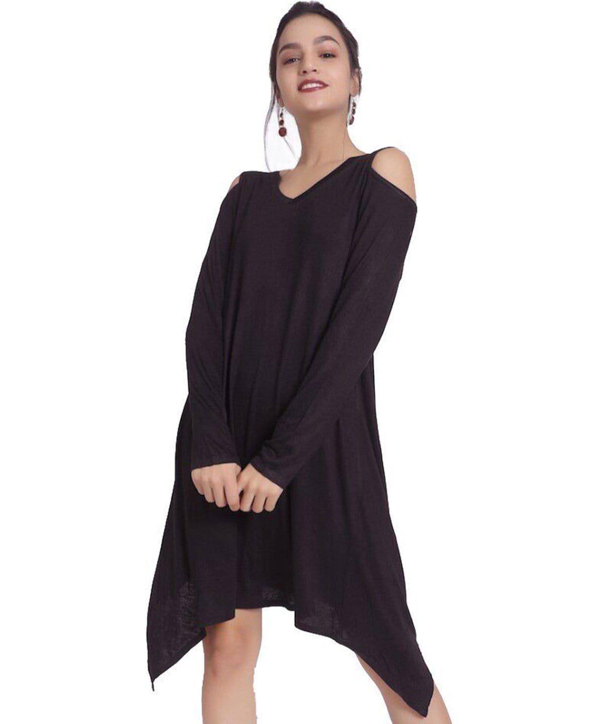 Solid Black Cold Shoulder Dress