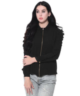 Solid Black Front Zipper Crepe Shirt. BUY 1 GET 3