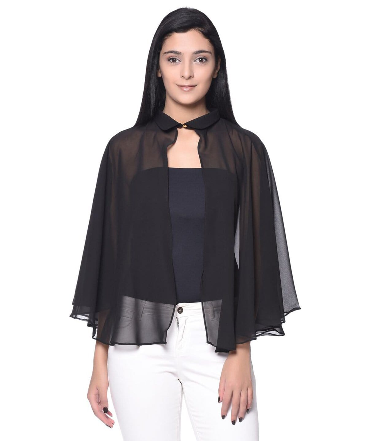Solid Black Georgette Cape. BUY 1 GET 3