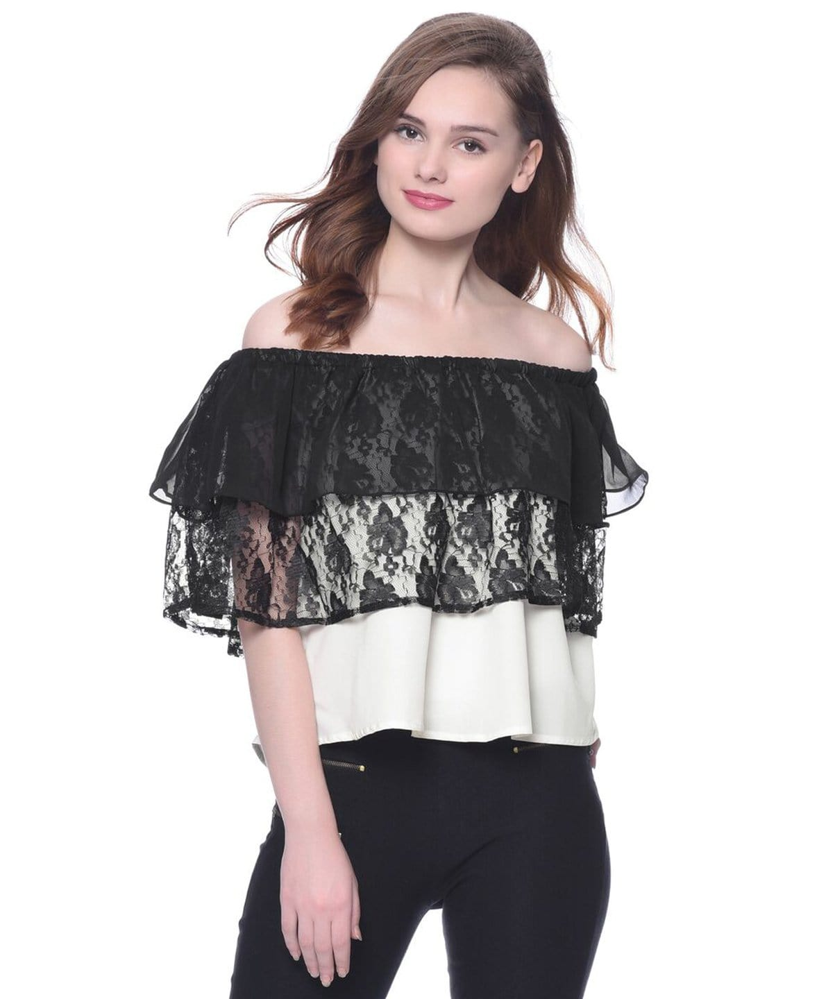 Solid Black & White Crepe Lace & Ruffles Off Shoulder Top. SALE UNDER 399