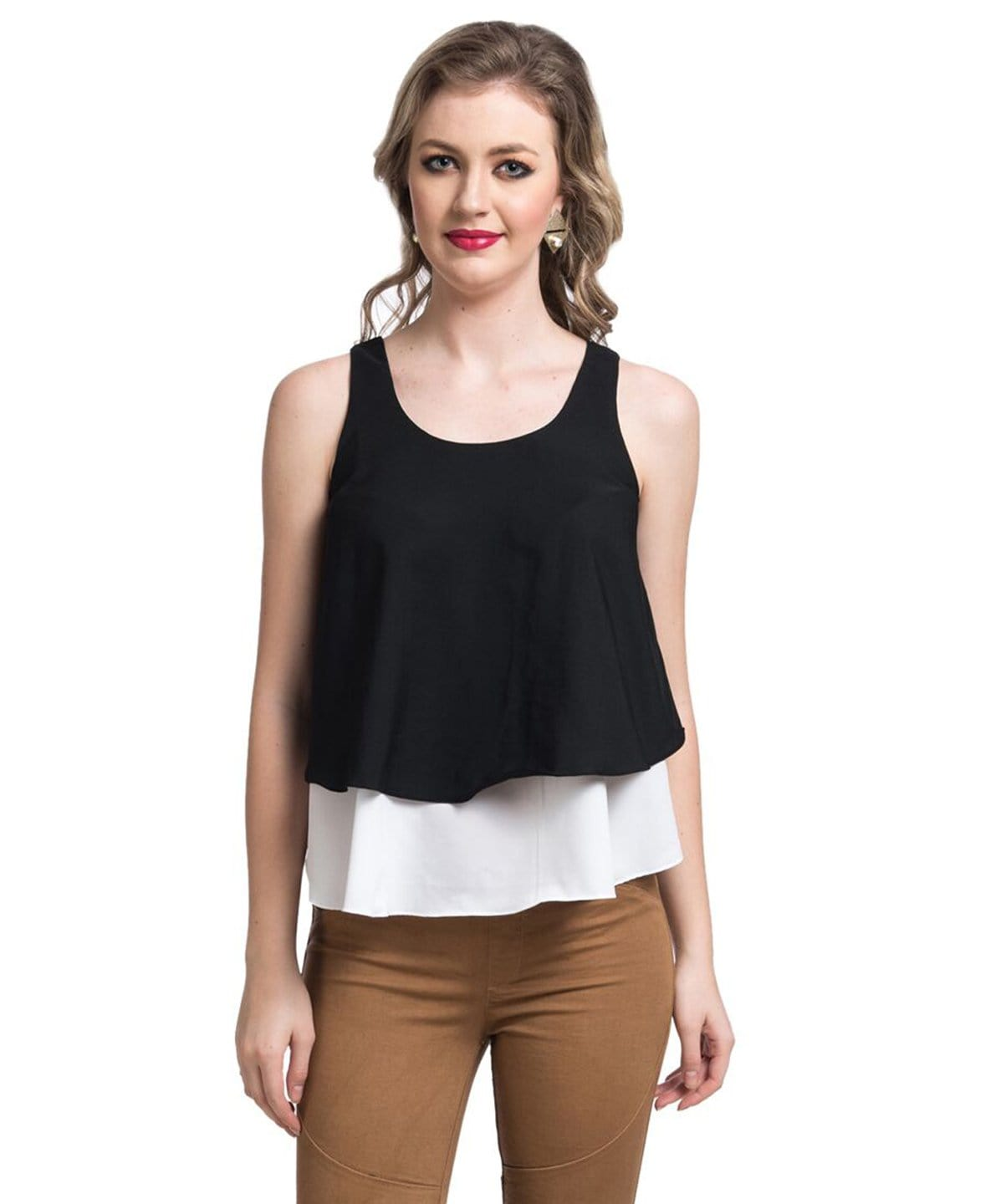 Uptownie Solid Black & White Layered Crepe Top 1 summer sale