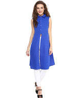 Solid Blue Buttoned Slit Crepe Tunic. SALE UNDER 399