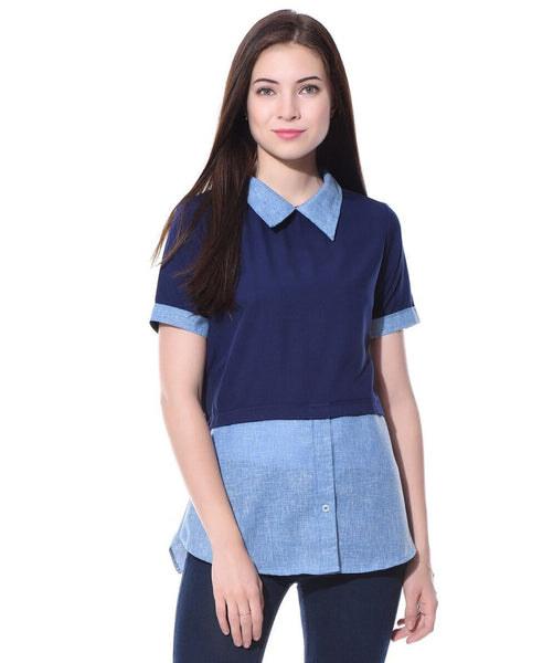 f580657de51dae Solid Blue Chambray Crepe Shirt. BUY 1 GET 1