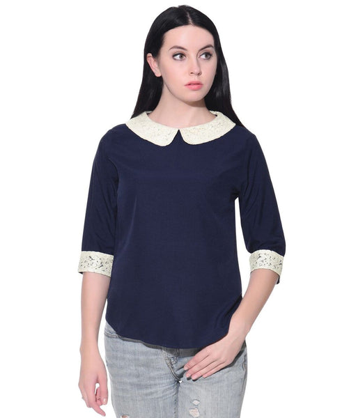 Solid Blue Collar Casual Top. BUY 1 Get 3