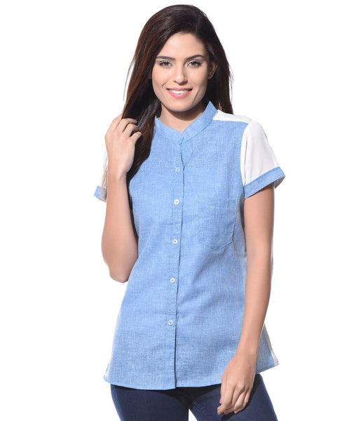 Solid Blue Denim Chambray Georgette Shirt - Uptownie