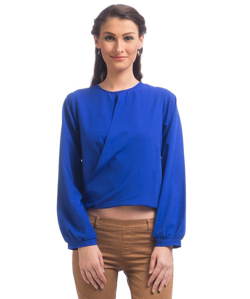 Solid Blue Draped Crepe Top. FLAT 20% OFF