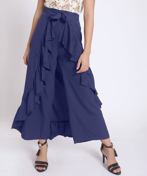 Solid Blue Flared Ruffled Pants