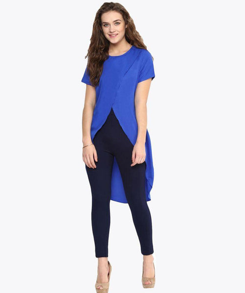 Solid Blue Front Cutout Crepe Tunic. FLAT 20% OFF
