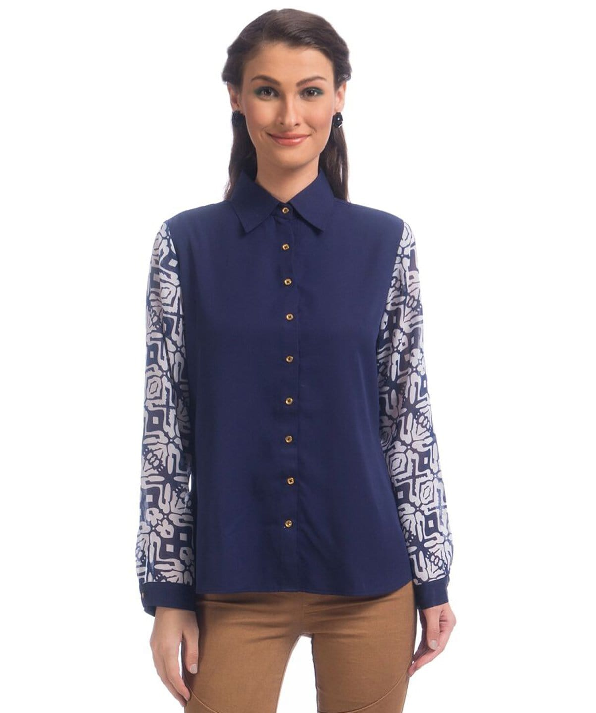 Solid Blue Printed Sleeves Button Down Georgette Shirt