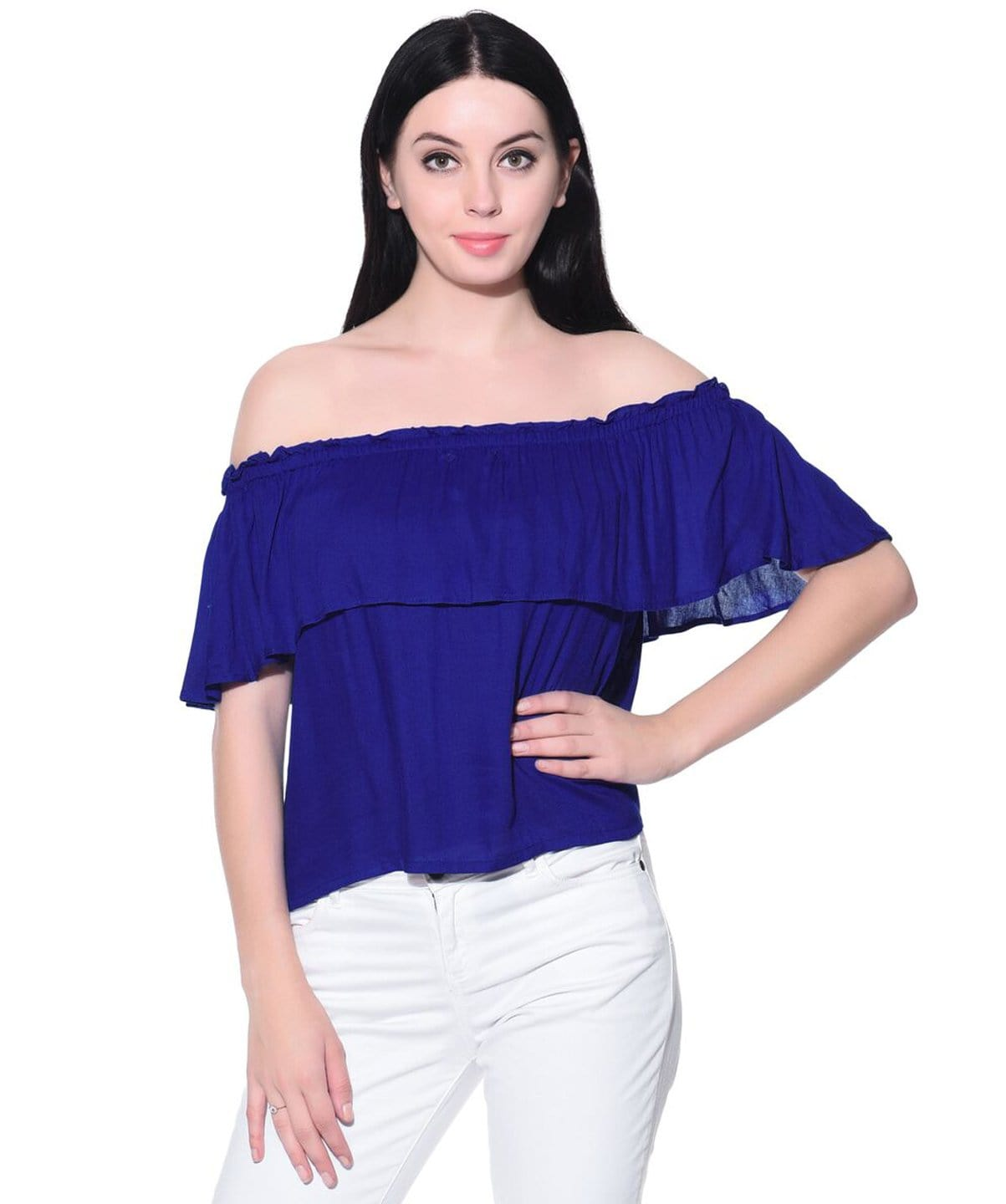 Solid Blue Ruffle Off Shoulder Rayon Top. BUY 1 GET 3